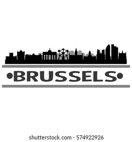 Brussels Skyline Silhouette City Stamp Vector Design Art