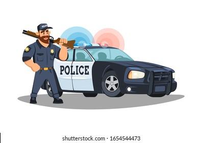 A brutal bearded patrol policeman with a gun on his shoulder patrols a row near a police car. Modern police car. Cartoon illustration on a white background.