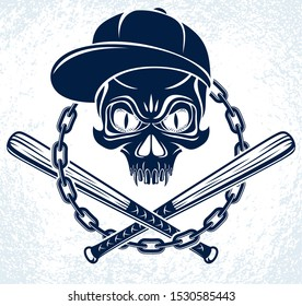 Brutal gangster emblem or logo with aggressive skull baseball bats design elements, vector anarchy crime or terrorism retro style, ghetto revolutionary.