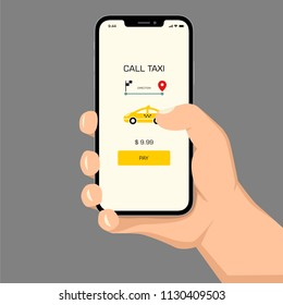 Brutal human hand holding smartphone with taxi application ui flat style illustration.