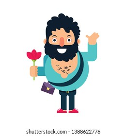 Brutal man in love gives a red flower. Vector illustration in flat style. Character design.