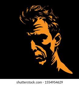 Brutal man portrait silhouette in backlight. Contrast face. Vector. Illustration.