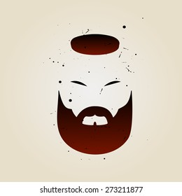 brutal man's face in isolation. stylish beard, mustache and hair. vector illustration