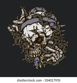 Brutal skull illustration for t-shirt, tattoo and design.