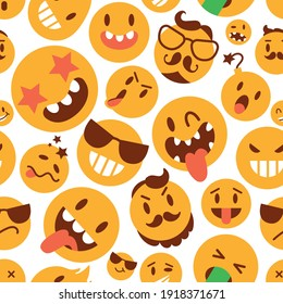 Brutal smile face icon. Set. Seamless pattern. Funny cartoon character. Vector illustration. Isolated on white background
