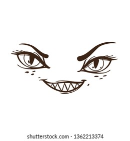 Brutal style Alice in Wonderland collection. Doodle smile cheshire cat on a white background.
