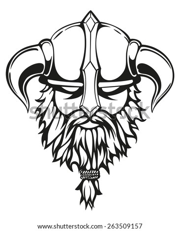 Brutal Viking Warrior Monochrome Contours Illustration Stock Vector