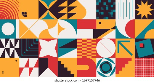 Brutalism art inspired abstract vector pattern made with simple geometric shapes and forms. Bold form graphic design, useful for web art, invitation cards, posters, prints, textile, backgrounds.