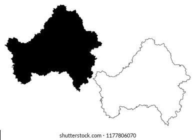 Bryansk Oblast (Russia, Subjects of the Russian Federation, Oblasts of Russia) map vector illustration, scribble sketch Bryansk Oblast map