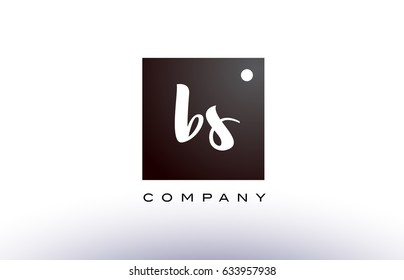 BS B S black white handwritten handwriting alphabet company letter logo square design template dot dots creative abstract