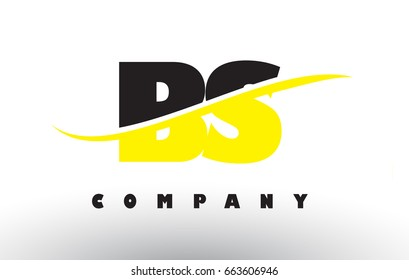 BS B S  Black and Yellow Letter Logo with White Swoosh and Curved Lines.