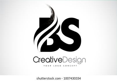 BS B S Creative Modern Black Letters Logo Design with Brush Swoosh