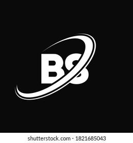 BS B S letter logo design. Initial letter BS linked circle uppercase monogram logo red and blue. BS logo, B S design. bs, b s