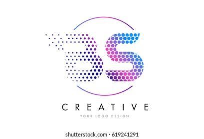 BS B S Pink Magenta Dotted Bubble Letter Logo Design. Dots Lettering Vector Illustration