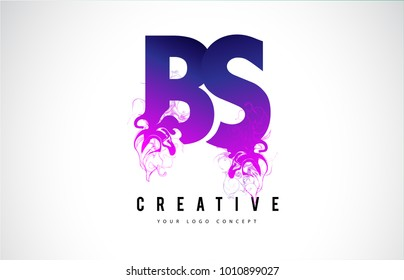 BS B S Purple Letter Logo Design with Creative Liquid Effect Flowing Vector Illustration.