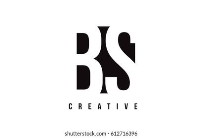 BS B S White Letter Logo Design with Black Square Vector Illustration Template.