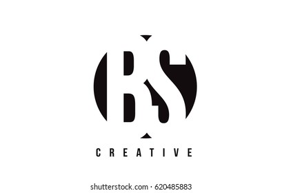 BS B S White Letter Logo Design with Circle Background Vector Illustration Template.