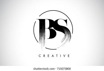 BS Brush Stroke Letter Logo Design. Black Paint Logo Leters Icon with Elegant Circle Vector Design.