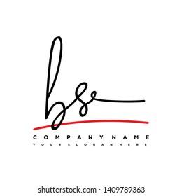 BS initial signature logo. handwriting logo template vector,