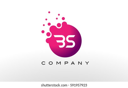 BS Letter Dots Logo Design with Creative Trendy Bubbles and Purple Magenta Colors.