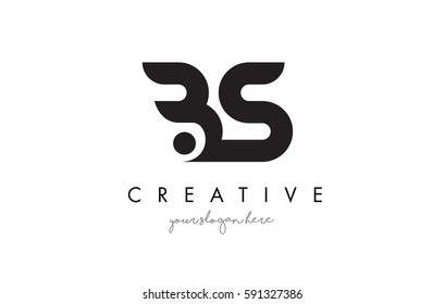 BS Letter Logo Design with Creative Modern Trendy Typography and Black Colors.