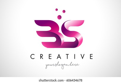 BS Letter Logo Design Template with Purple Colors and Dots