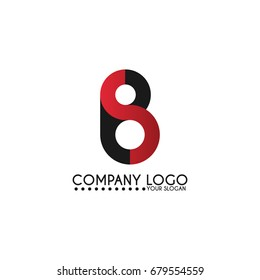 BS logo design linked in black and red color, letter symbol icon vector for branding.