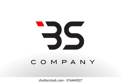 BS Logo.  Letter Design Vector with Red and Black Colors.