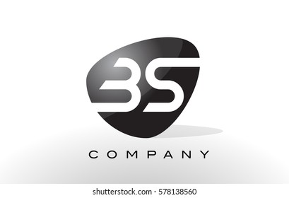 BS Logo. Letter Design Vector with Oval Shape and Black Colors.