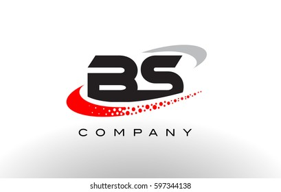 BS Modern Letter Logo Design with Creative Red Dotted Swoosh Vector