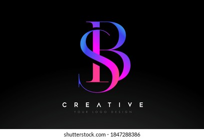 BS SB letter design logo logotype icon concept with serif font and classic elegant style look vector illustration.