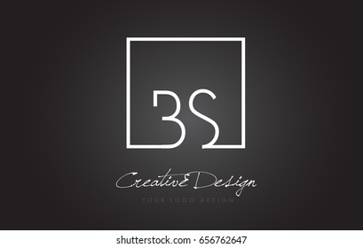 BS Square Framed Letter Logo Design Vector with Black and White Colors.