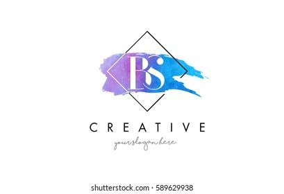BS Watercolor Letter Brush Logo. Artistic Purple Stroke with Square Design.