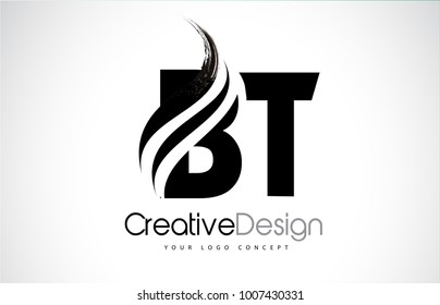 BT B T Creative Modern Black Letters Logo Design with Brush Swoosh