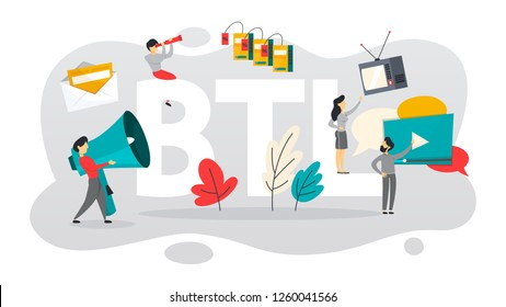 BTL or below the line communication with customer. Marketing strategy of product promotion. Direct offer to person. Isolated flat vector illustration