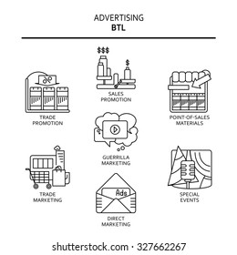 BTL communication or below-the-line advertising technique thin line icons, black on the white background.