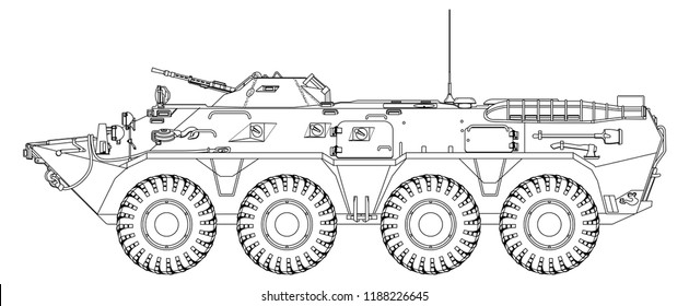 BTR-80 Soviet armored personnel carrier. Outline drawing
