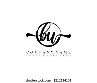 BU initial handwriting logo circle template vector