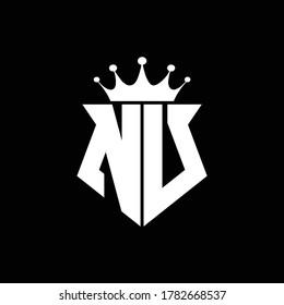 bu logo monogram shield shape with crown design template
