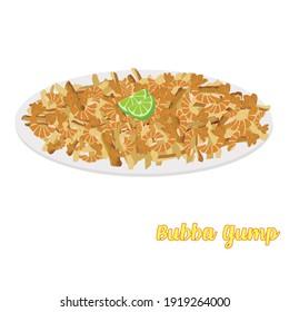 Bubba gump delicious shrimp with cheese, potatoes and lemon craving. Vector Bubba gump.