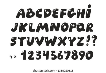 Bubble alphabet set in black color. Creative ABC doodle  letters and numbers in cartoon style for title, headline, poster, comics, or banner design projects.