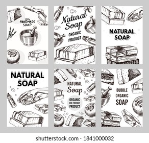 Bubble Bath soap poster or banner. Washing hands in vintage style. Homemade packaging. Organic cosmetic, natural lather. Drawn a monochrome engraved sketch for spa label or background