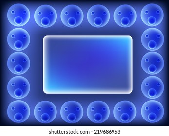 bubble blue picture wall frame
