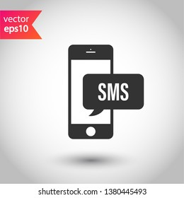 Bubble chat SMS symbol. SMS vector icon. Mobile phone SMS vector sign. EPS 10