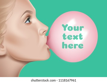 Bubble chewing gum female lips vector realistic illustration isolated on background