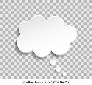 Bubble cloud for think and speech. Paper cloud for talk. Balloon for message, dialog and text. White box isolated on transparent background. Icon of chat, idea and comment. Vector.