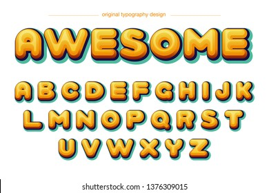 bubble colorful comic cartoon Typography Design Font Vector