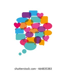 bubble communication message speak icon. Isolated and flat illustration. Vector graphic
