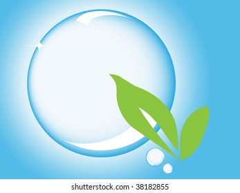Bubble concept with green leaves