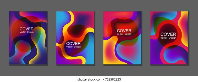 Bubble fluid gradient shapes trendy A4 design, scientific cover, educational chemistry poster. Hipster futuristic vectors. Fluid colors cover page layout background set in violet, blue, red, yellow.